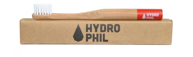 Hydrophil Bambus-Zahnbürste rot für Kinder