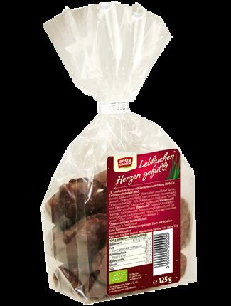 Rosengarten Bio Lebkuchen-Herzen gefüllt 125g