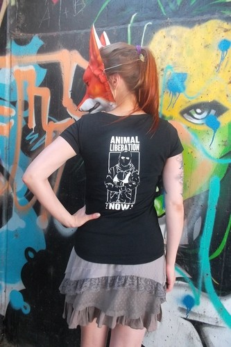 "Tailliertes Shirt ""Animal Liberation !NOW!"""