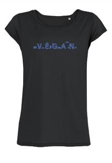 "Tailliertes Shirt Parades ""Vegan - Tiere"" dunkelblau"