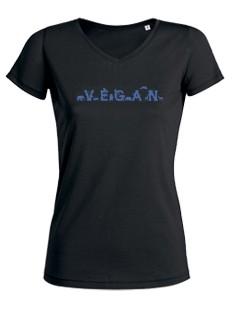 "Tailliertes Shirt V-Neck ""Vegan - Tiere"" dunkelblau"