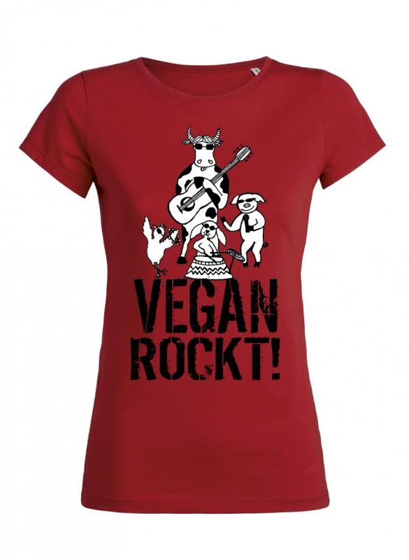 """Tailliertes Shirt """"Vegan rockt!"""""""