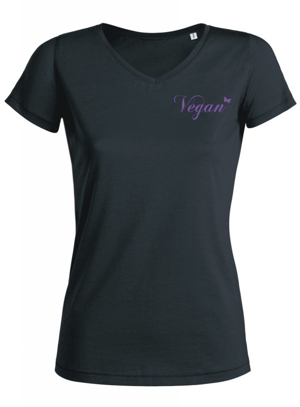 "Tailliertes Shirt V-Neck ""Vegan Schmetterling"""