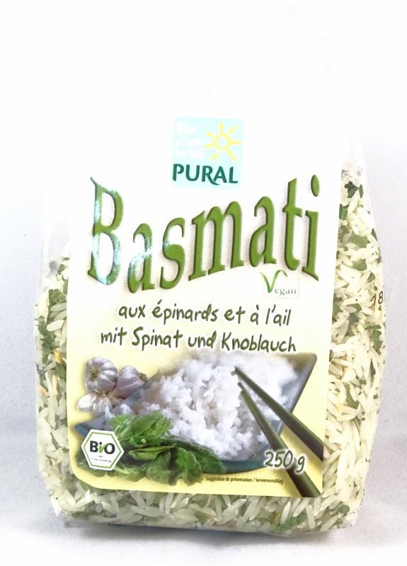 Bio Basmati mit Spinat und Knoblauch 250g