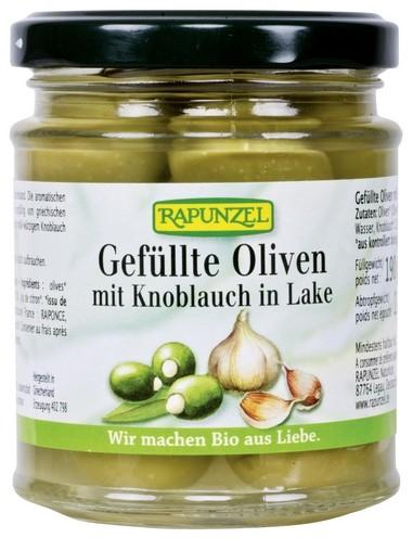 Bio Oliven grün, gefüllt mit Knoblauch in Lake 190g