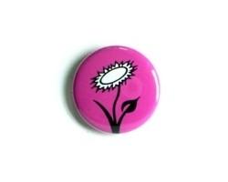 "Button ""Vegan Blume - pink"""