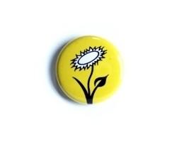"""Button """"Vegan Blume - gelb"""""""