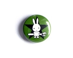 "Button ""Rabbit with wrench - green"""