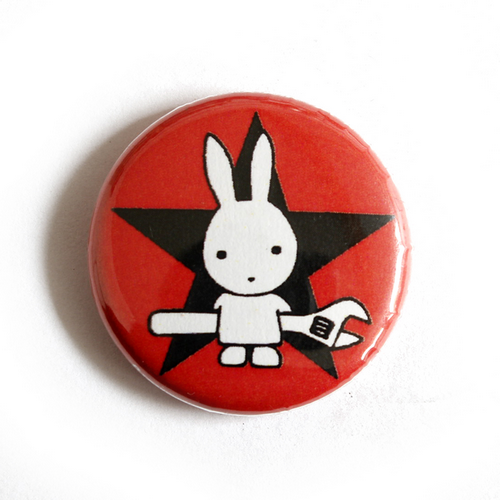 """Button """"Rabbit with Wrench - red"""""""