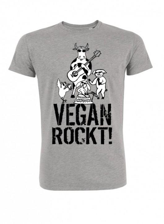 """T-Shirt """"Vegan rockt!"""" - grau"""