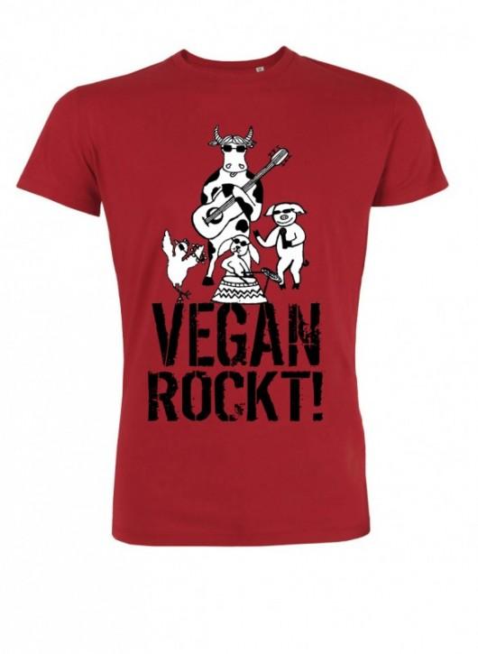 """T-Shirt """"Vegan rockt!"""" - rot"""
