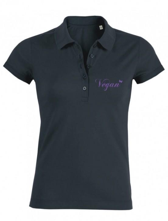 "Tailliertes Poloshirt  ""Vegan Schmetterling"" Gr. XS"