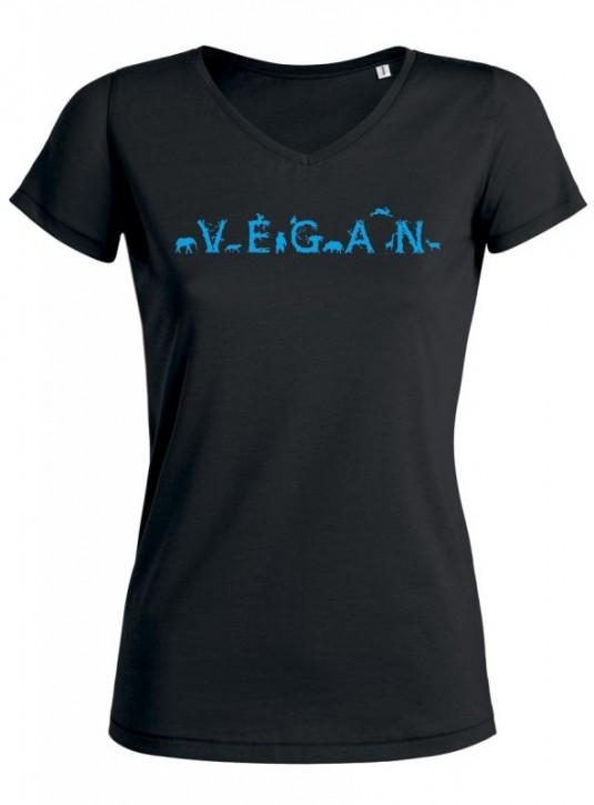"""Tailliertes Shirt V-Neck """"Vegan - Tiere"""" XXL - Restposten"""
