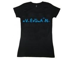 "Tailliertes Shirt ""Vegan - Tiere"" Gr. S -alter Schnitt-"