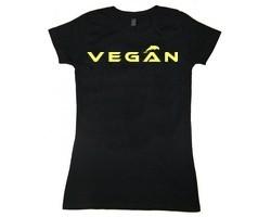 """Tailliertes Shirt """"Vegan"""" phosphoreszierend"""