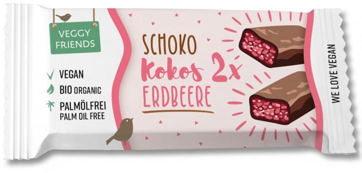 Veggy Friends Schokoriegel Kokos-Erdbeere BIO, 35g