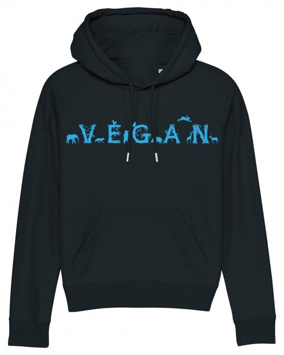 "Taillierter Hoodie ""Vegan - Tiere"""