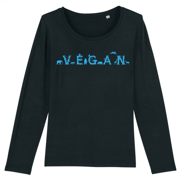 """Tailliertes Langarmshirt """"Vegan - Tiere"""""""