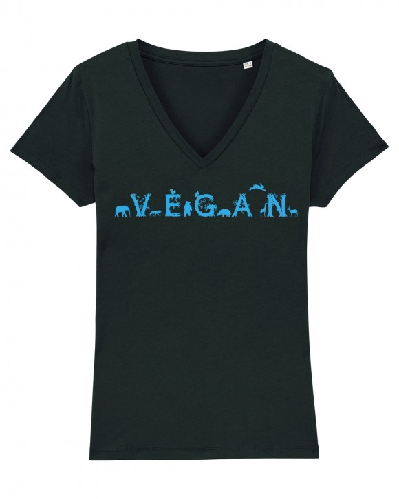 """Tailliertes Shirt mit V-Auschnitt """"Vegan - Tiere"""""""