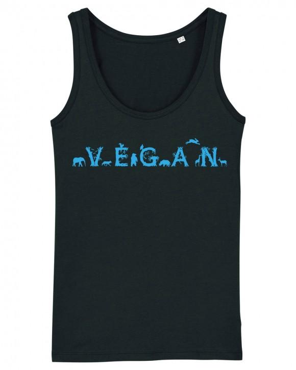 "Tailliertes Tanktop ""Vegan - Tiere"""
